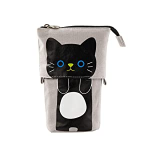 Funny live Cue Cat Telescopic Stand Up Pencil Case Canvas Telescopic Desk Pencil Holder Bag High Capacity Bag Pouch Small Cosmetics Bag with Zipper for College Office Student Girls and Boys (Gray)