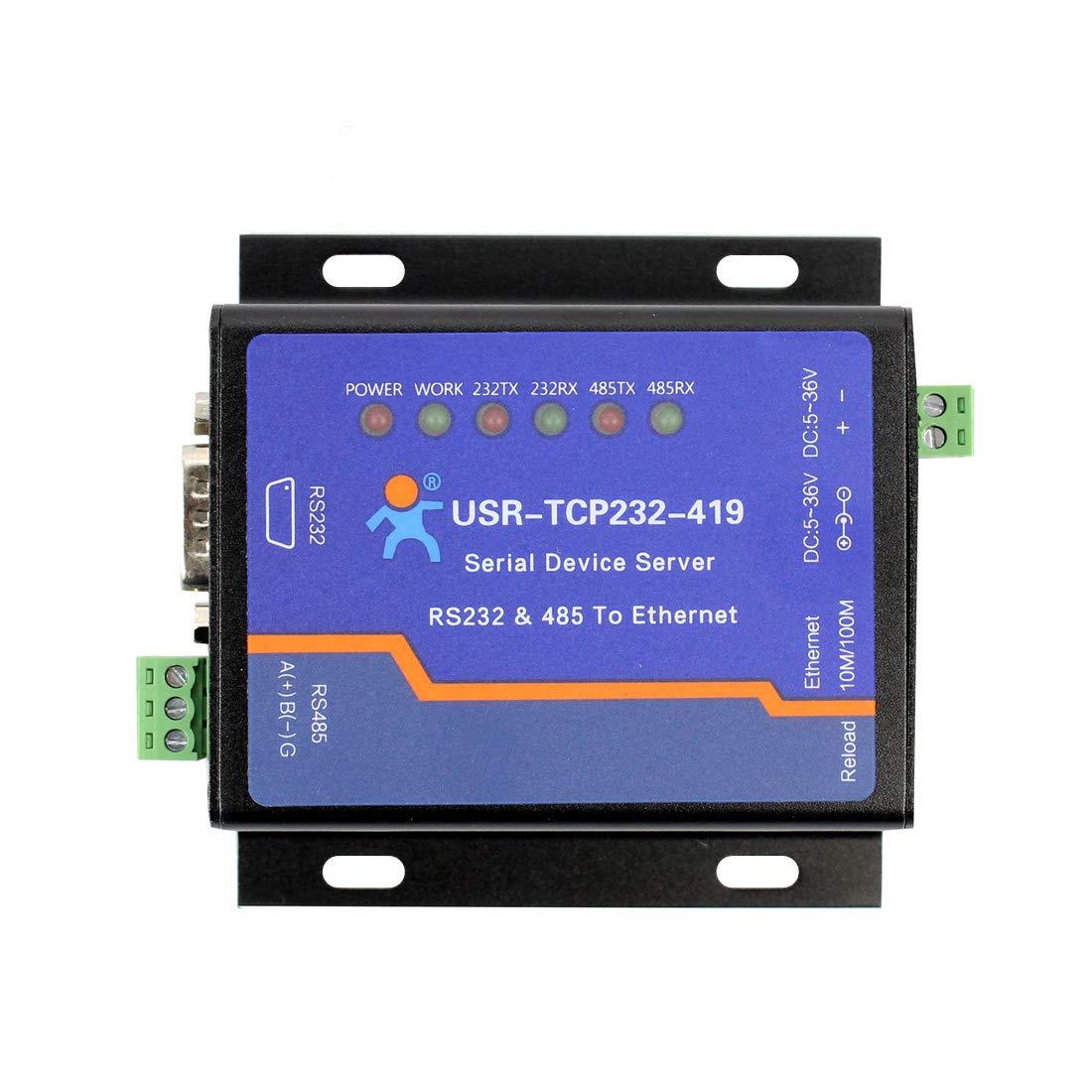 USR USR-TCP232-419 Serial Device Server RS232 RS485 to Ethernet Converter Support DTR/DSR Flow Control by USR
