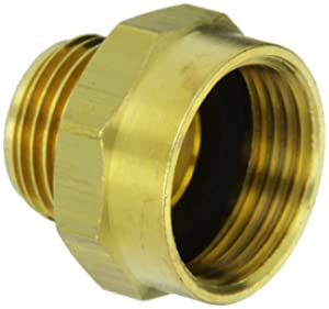 "Moon 357-1010751 Brass Fire Hose Adapter, Nipple, 1"" NPSH Female x 3/4"" GH Male"