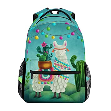 Leather Cute Cactus Cartoon Characters Set Emoji Backpack Daypack Bag Women