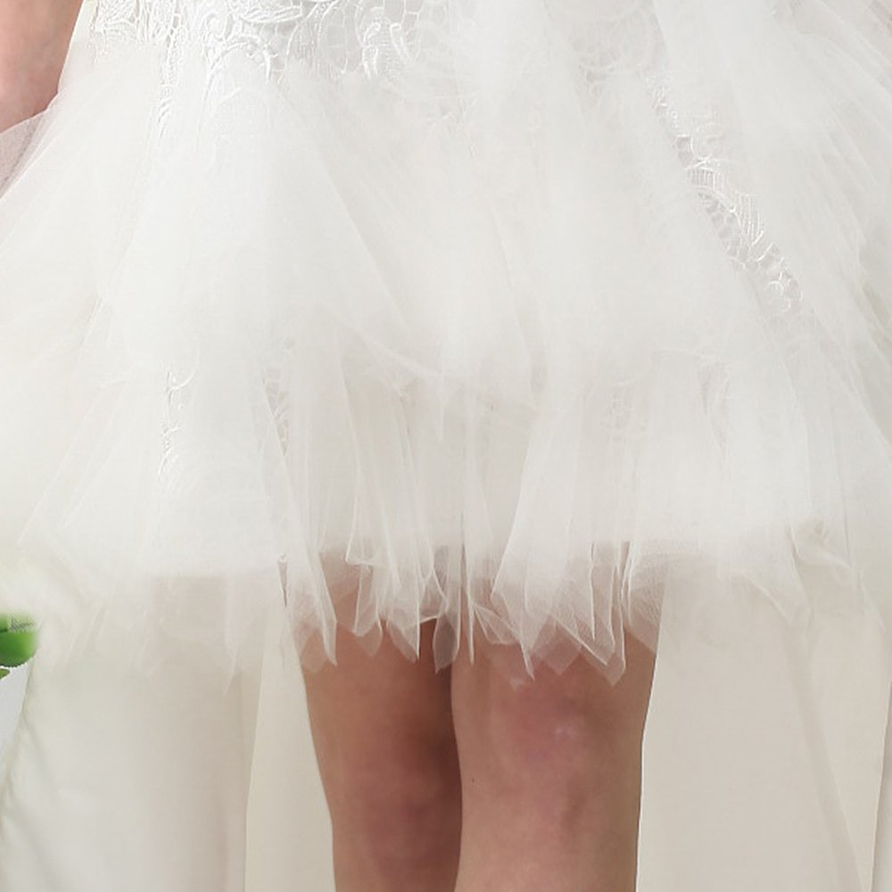 UnionFashionLi Knee Length White Cocktail Lace Wedding Dress with Removable Tail by UnionFashionLi (Image #5)