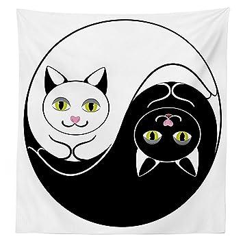 Ying Yang decoración Mantel Brillante y Oscuro Peluche Gatos en Asia Yin Yang Forma armonía y Equilibrio de Gato Imagen Funda para Mesa Rectangular para ...