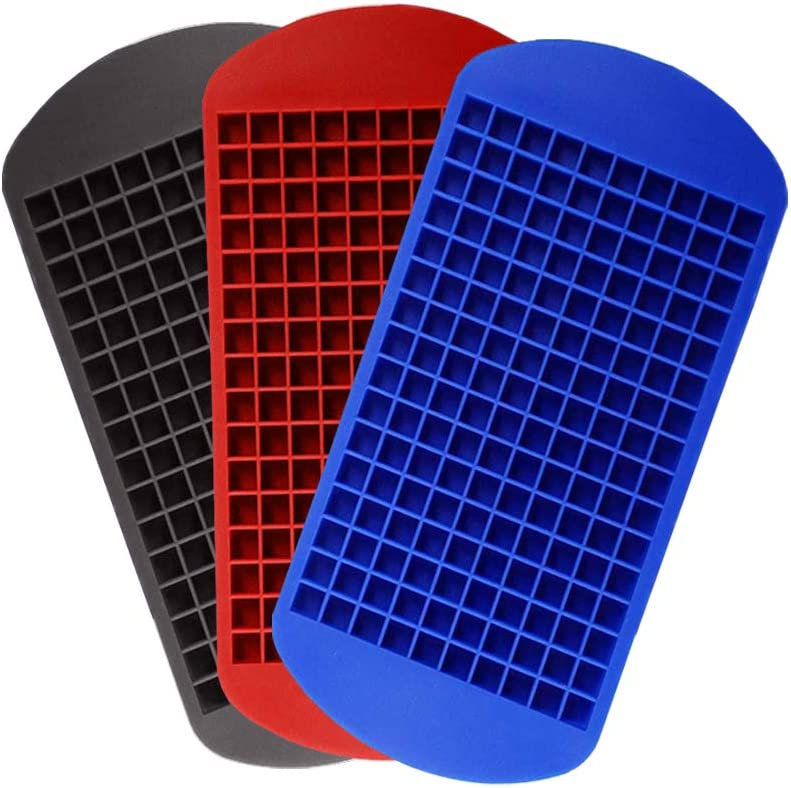 TopAufell 3-color Small Ice Cube Trays, 160-cell Mini Cube Ice Cube Mold Silicone Ice Cube Tray, Food-grade Ice Cube Trays, Safe Ice Tray for Kitchen and Bar Drinks (3 Colors-Black, Blue, Red,3PCS)