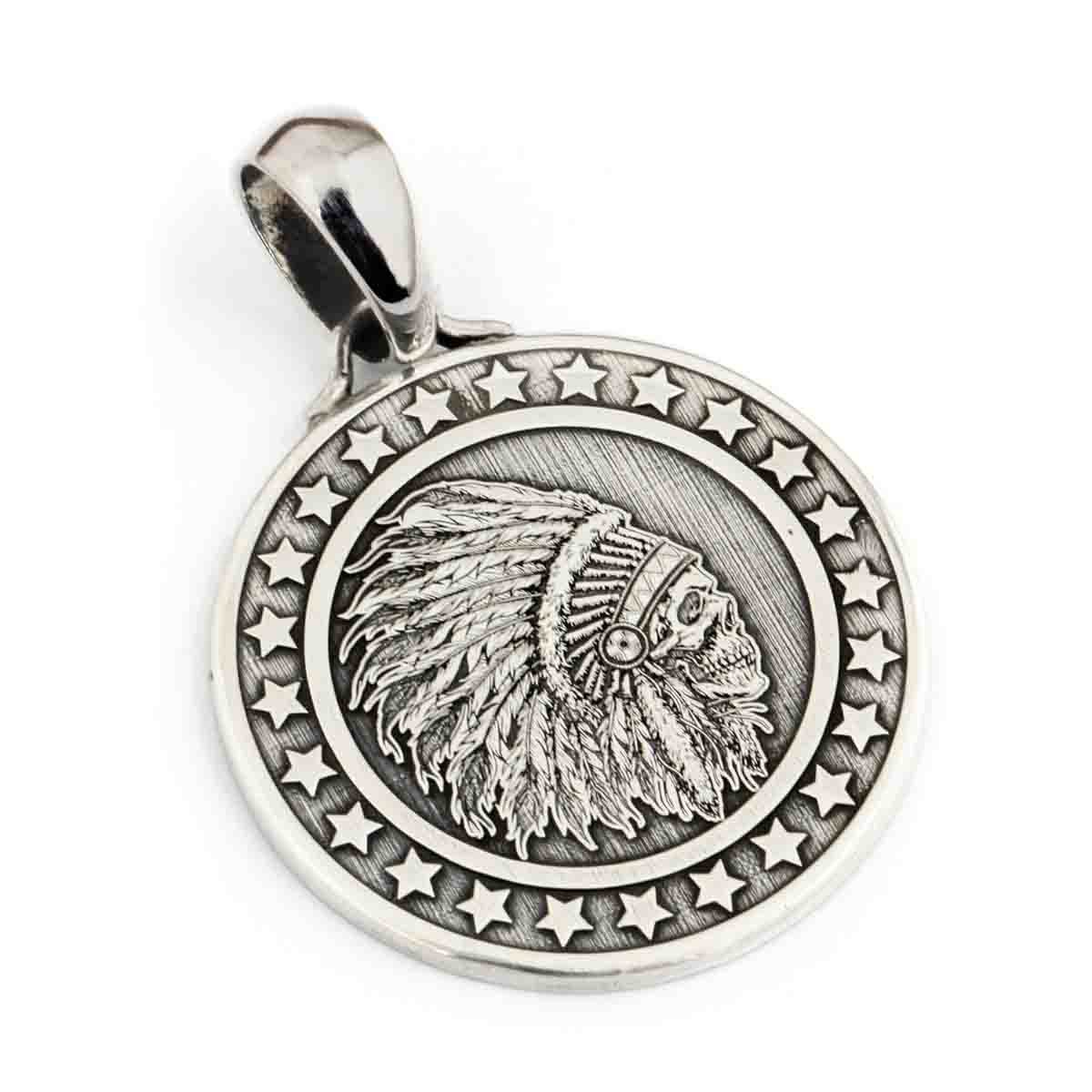 Deep Engraved 999 Sterling Silver Indian Chief Skull Stars Round Mens Biker Pendant 9X016 JP LINSION