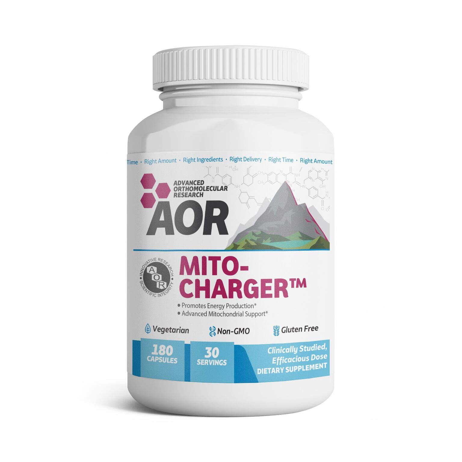 AOR - Mito-Charger, Natural Supplement to Support Healthy Mitochondria, with R-Lipoic Acid, Vegetarian, 180 capsules (30 servings)