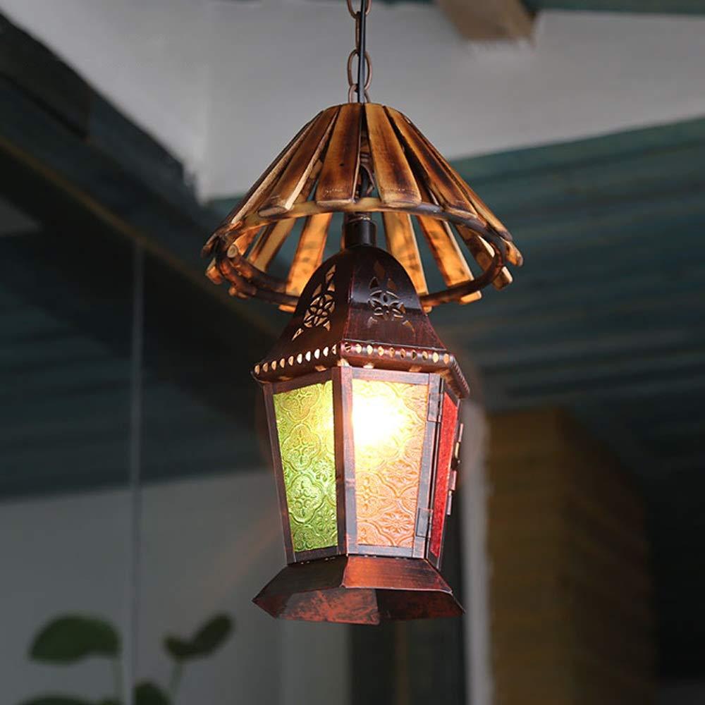 1-light Moroccan Turkish Colorful Lantern Chandelier Retro Vintage Pendant Light E27 Mediterranean Decoration Hanging Lamp Bedroom Indoor Ceiling Lights