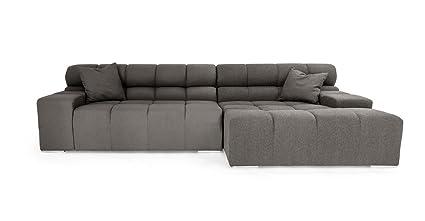 Merveilleux Kardiel Cubix Modern Modular Sofa Sectional Right, Cadet Grey Cashmere