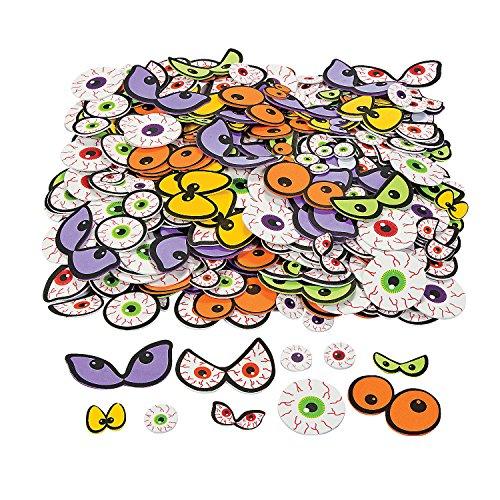 Fun Express - Adhesive Foam Spooky Eyeballs for Halloween - Craft Supplies - Foam Shapes - Regular - Halloween - 500 Pieces -