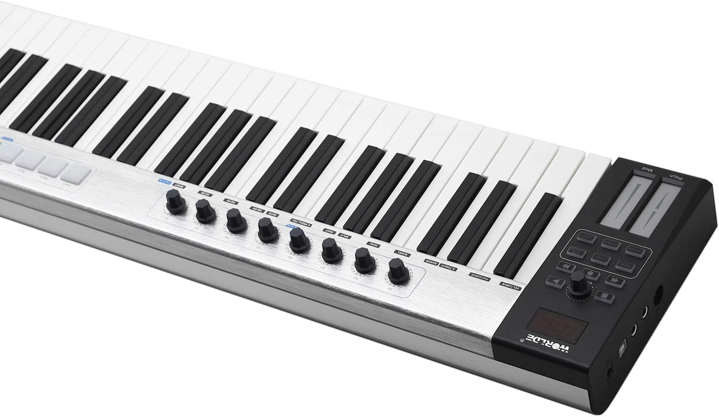 Amazon.com: Aboodah Blue whale 88 Portable USB MIDI Controller Keyboard 88  Semi-weighted Keys 8 RGB Backlit Trigger Pads LED Display with USB Cable:  Musical Instruments