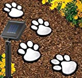 MUEQU Set of 4 LED Solar Garden Light, Solar Powered Animal Paws Print Outdoor Lamp, Creative String Light Landscape Light Outdoor Decorative Lights for Patio,Yard, Garden (White)