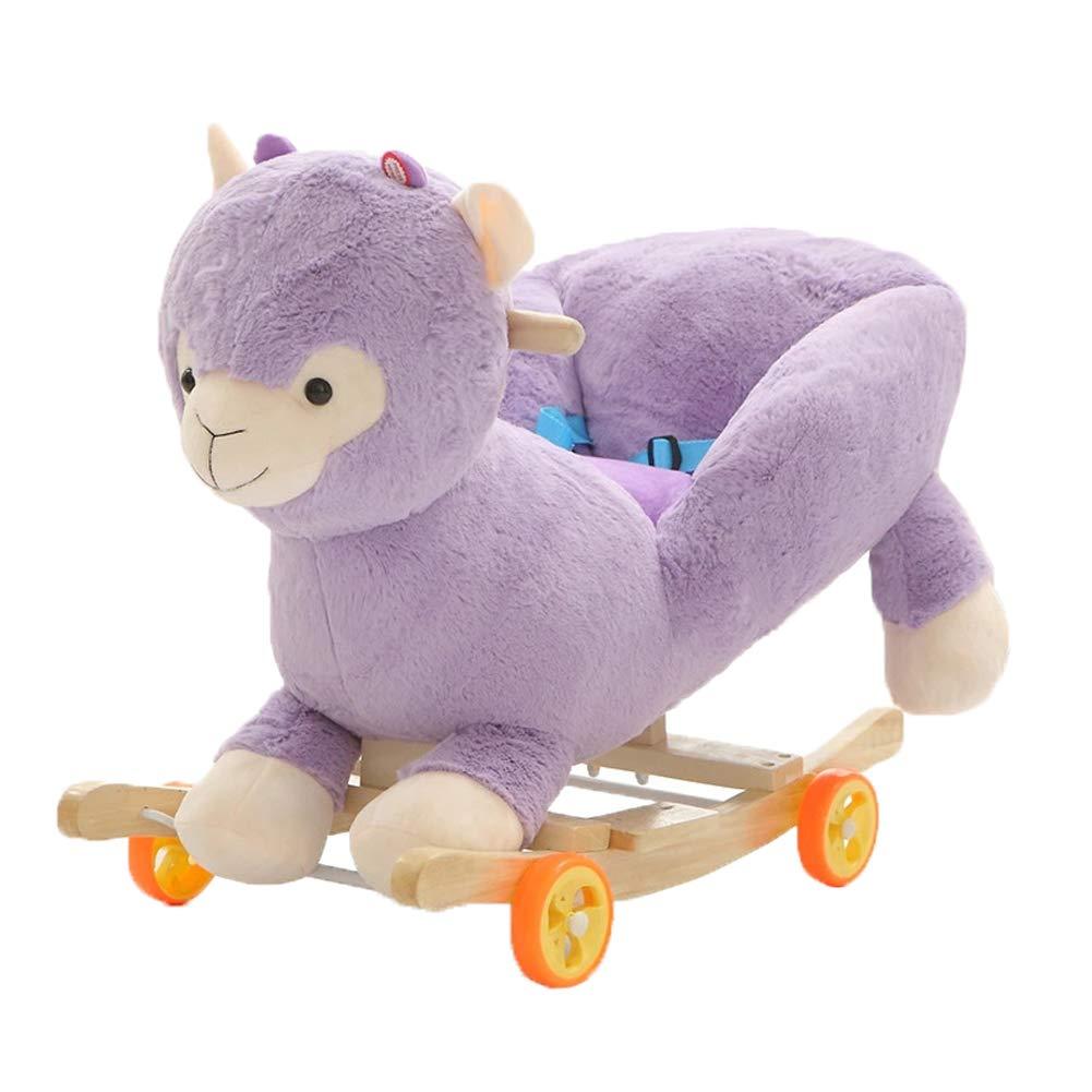 Homesave Caballo de balanceo del niño, Cabritos Que oscilan el Caballo-Estilo Lindo 6 Silla del Tema, PurpleAlpaca