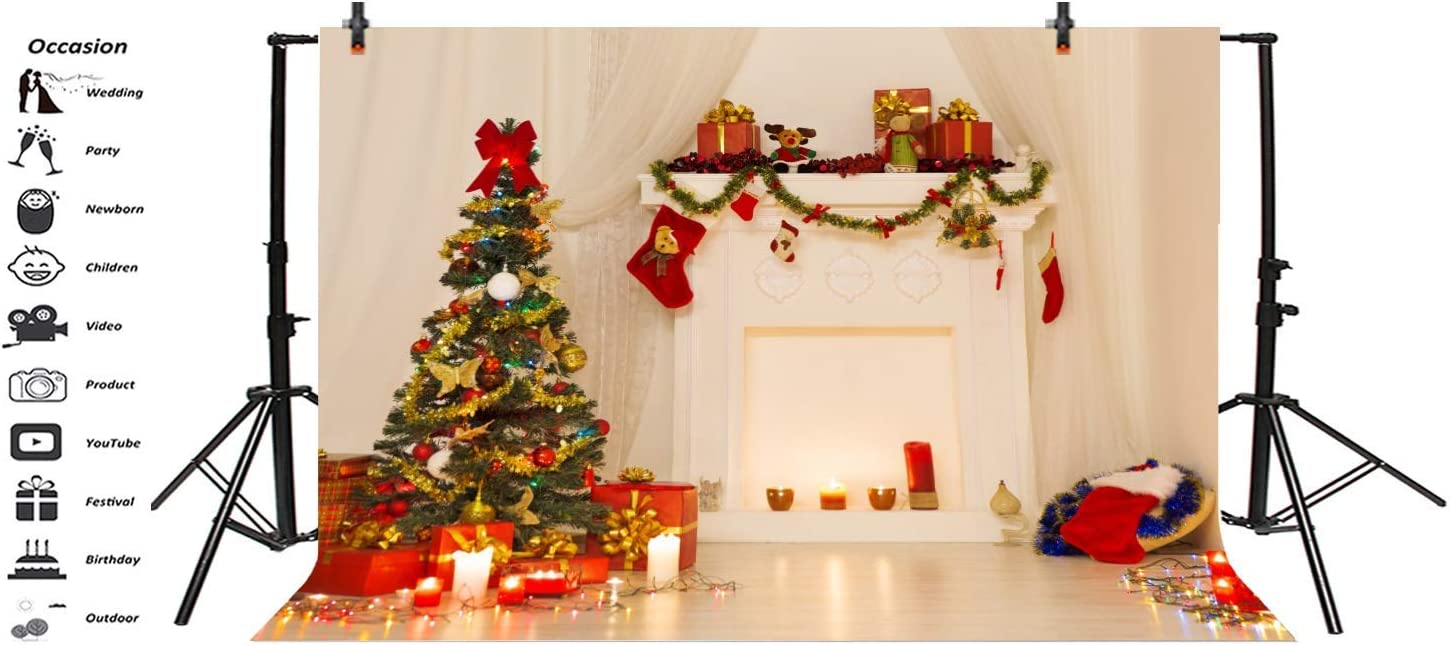 10x6.5ft Christmas Tree Decorated Lights Backdrops Polyester Photography Background Fireplace Promise Living Room Family Holiday Party Photo Shooting Studio Props