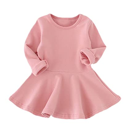 f28b55193 Image Unavailable. Image not available for. Color: ❤️Mealeaf❤ Baby Girls  Candy Color Long Sleeve Solid Princess Casual Toddler Kids Dress