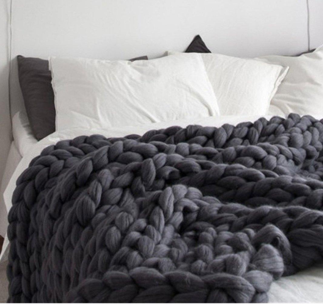 Chunky Knit Blanket Handmade by eacho Soft Knitting Throw Bed Bedroom Decor Bulky Sofa Pet Mat, Dark Grey, 47''71''