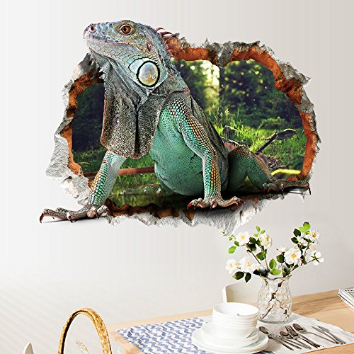 Mural Lizards - Wall Stickers 3D Stereoscopic Animal World Lizard Children's Bedroom Background Mural Wallpaper Removable Waterproof PVC Wallpaper
