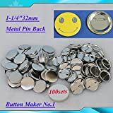 """1-1/4""""32mm 100sets Metal Pin Badge Button Parts Supplies for Button Maker DIY!!(item#015501)"""