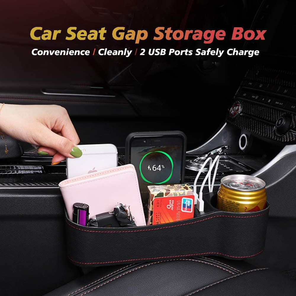 Leather Storage Box Multifunctional with Dual USB Charging Cup Holder NOT FIT Central Console Lower Than The Seat SUNMORN Car Seat Gap Organizer
