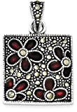 ICE CARATS 925 Sterling Silver Marcasite Red Enamel Flowers In Square Pendant Charm Necklace Flower Gardening