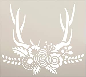"""Antlers with Flowers & Leaves Stencil by StudioR12 