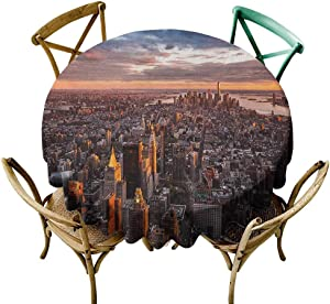 Wendell Joshua Blue Tablecloth 36 inch USA,Aerial View of The Manhattan Skyline at Sunset Famous Financial District NYC, Blue Orange White 100% Polyester Spillproof Tablecloths for Round Tables