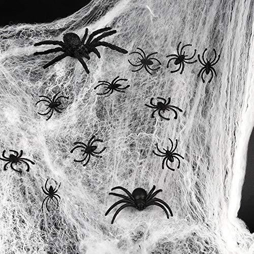 D-FantiX Halloween Spider Web Set,1000 sqft Stretch White