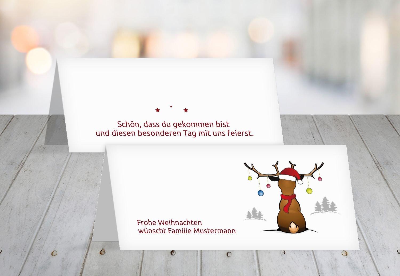 Kartenparadies Tischkarte Weihnachtstisch Tischkarte Rudolph, hochwertige Platzkarte für die Weihnachtsfeier (Format  100x44 mm) Farbe  Grasgruen B01N33BXHZ   Ausgezeichneter Wert    Toy Story    Lebendige Form