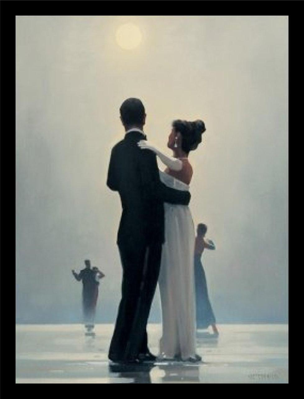 buyartforless FRAMED Dance Me To The End Of Love by Jack Vettriano 26x21.5 Romantic Waltzers Art Print Romantic Dancing under Moonlight