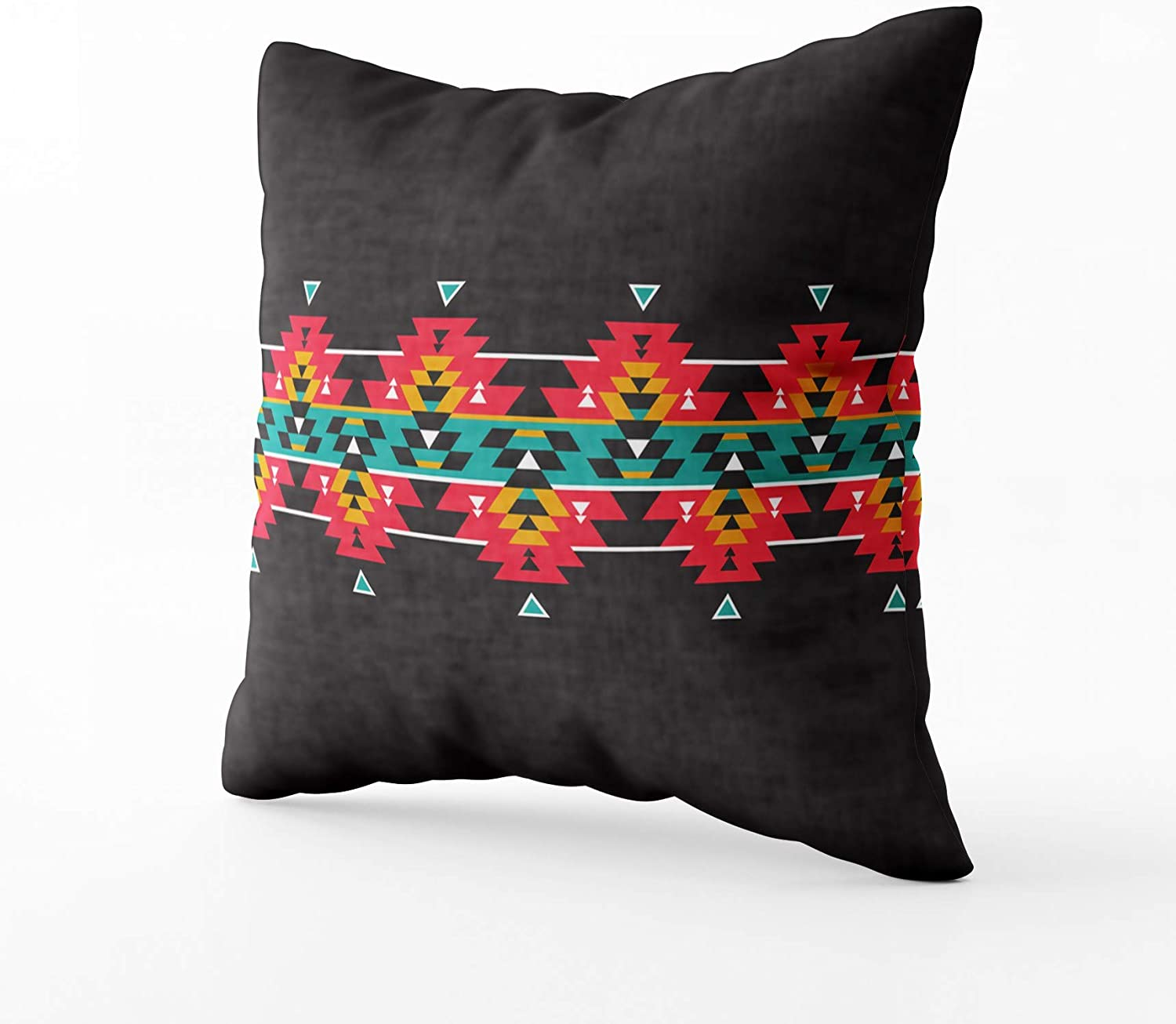 Home Decorative Throw Pillow Cover 16X16inch Invisible Zipper Cushion Cases Tribal Colorful Geometric Border Pattern Square Sofa Bed D/écor,Black Orange HerysTa Sofa Pillow Case