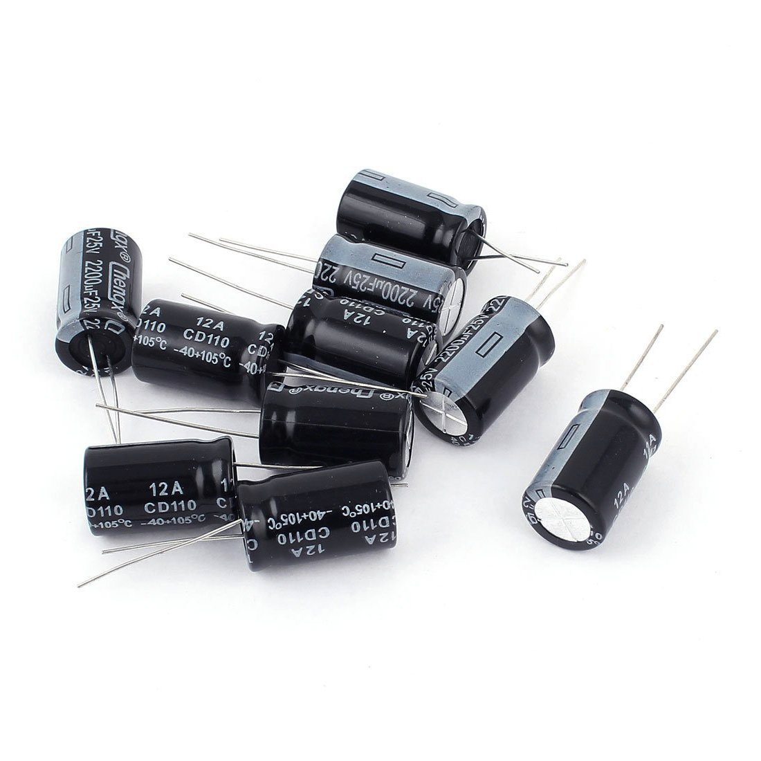 Electrolytic Capacitor - TOOGOO(R) 10Pcs 25V 2200UF Through Hole Aluminium Electrolytic Capacitor 13x20mm
