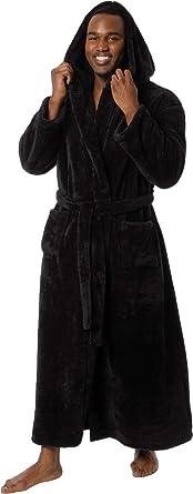 78080d3b4c Ross Michaels Mens Luxury 400gsm Hooded Long Robe - Full Length Plush Big   Tall  Bathrobe