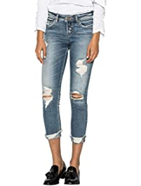 Silver Jeans Co. Womens Suki Perfectly Curvy-fit Mid-Rise Skinny Crop-Leg White Jean
