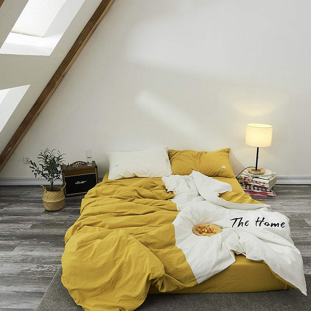 Zvivi Bedding 4 Piece Set Twin Size King Size Nordic Style Simple Cotton Light Weight & Easy Care Bedding Duvet Cover,Yellow,Full/Queen
