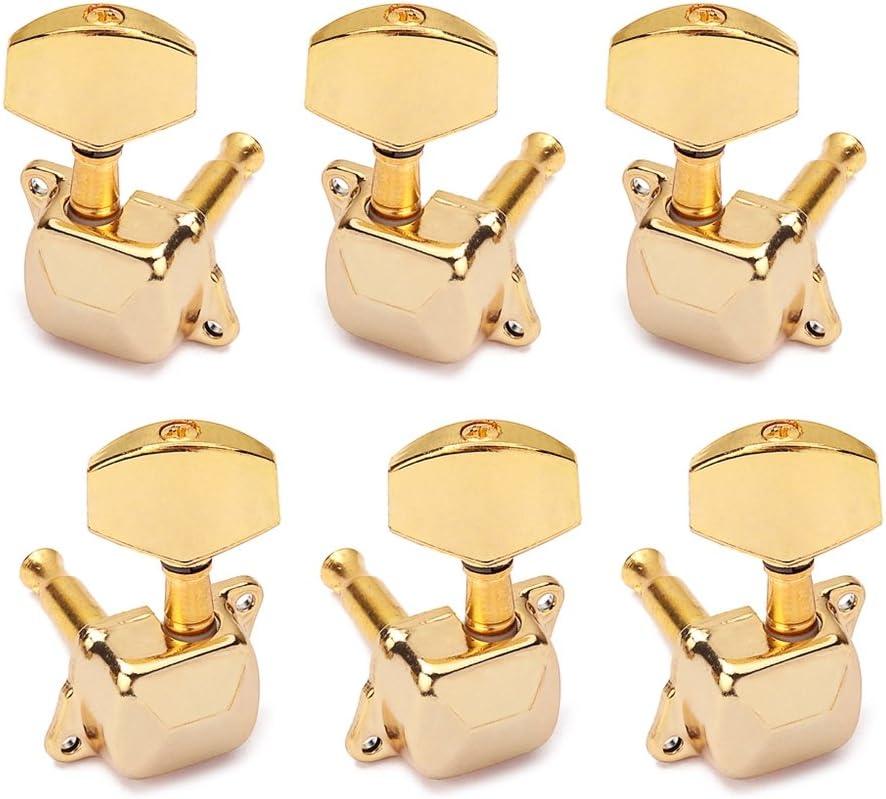 Artibetter 6pcs Clavijas afinadoras afiladas para guitarra 3L3R Afiladores de cabeza de máquina con botón negro para ukelele (dorado)