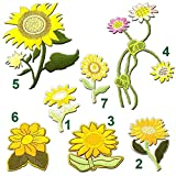 7 pcs of Embroidery Sunflowers Flower Iron on Applique DIY Decoration Or Repair Sew On Patches for Clothing Backpacks Jeans Caps Shoes