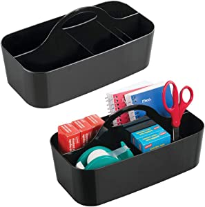 mDesign Plastic Office Storage Organizer Caddy Tote with Handle for Cabinet, Countertop, Desk, Workspace - Holds Erasable Pens, Colored Pencils, Washi Tape, Notebook - Large, 2 Pack - Black