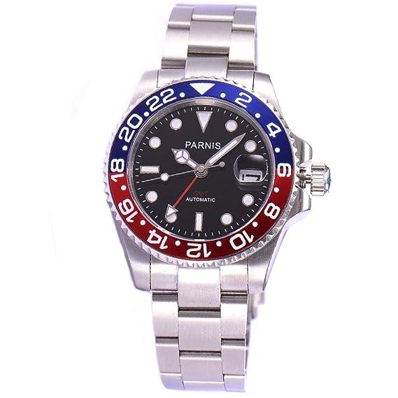 PARNIS - Reloj automático con cristal de zafiro, bisel rojo y azul, y esfera negra de 40 mm.: Amazon.es: Relojes