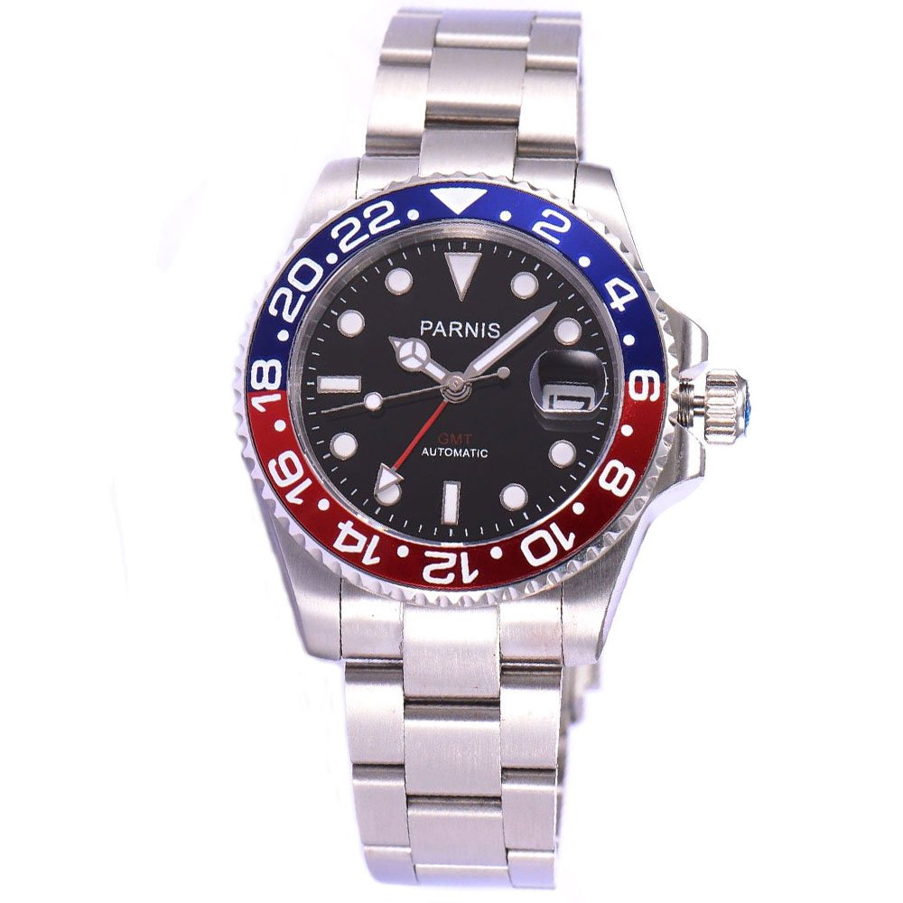 Parnis Sapphire Glass Red Blue Bezel Black Dial 40mm GMT Automatic Watch