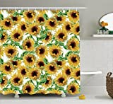 Ambesonne Sunflower Decor Collection, Dried Sunflowers Illustration Wildflowers Branch Herbarium Artistic Design Fine Art, Polyester Fabric Bathroom Shower Curtain, 84 Inches Extra Long,
