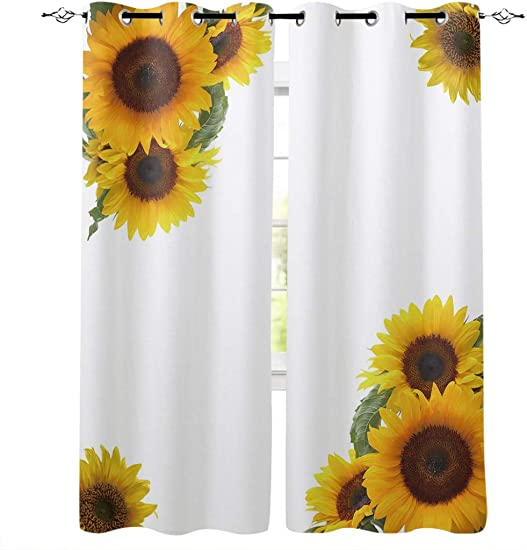 Aiesther Sunflower Window Curtains, Room Darkening Thermal Insulated Blackout Curtains for Living Room Bedroom 2 Panels, 52 W by 84 L , Romantic Flowers Inspired Design