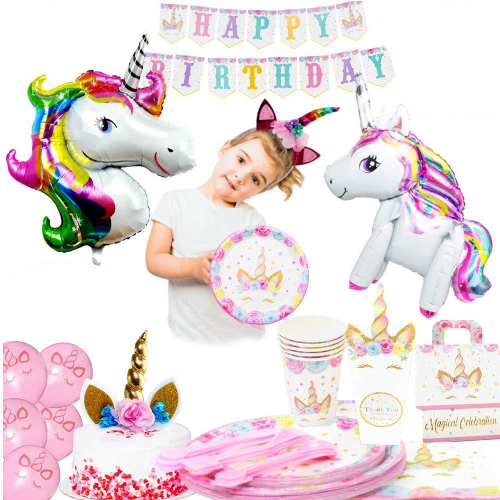 Unicorn Party Supplies 197 Pc Set With Unicorn Themed Party Favors Pink Unicorn Headband For Girls Birthday Party Decorations Unicorn Balloons Pin The Horn On The Unicorn Game And More Serve 16