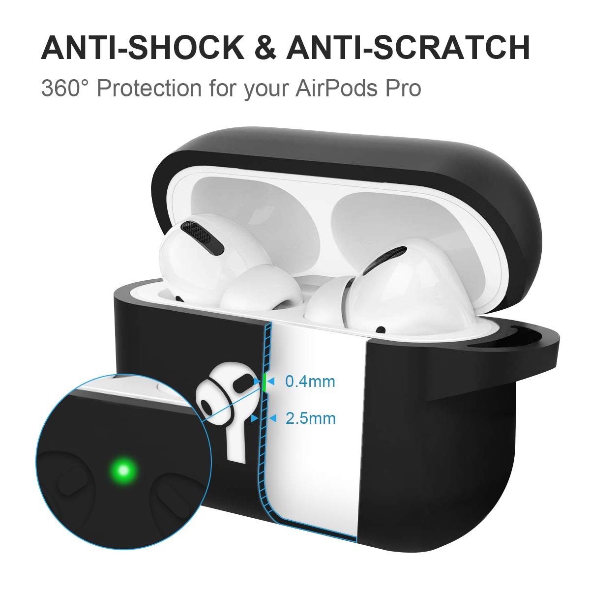 AirPods Pro Case Cover, 2.5MM Thick Silicone Shockproof Protective Cover with Visible Front LED Compatible with Wireless Charging AirPods Pro, Black