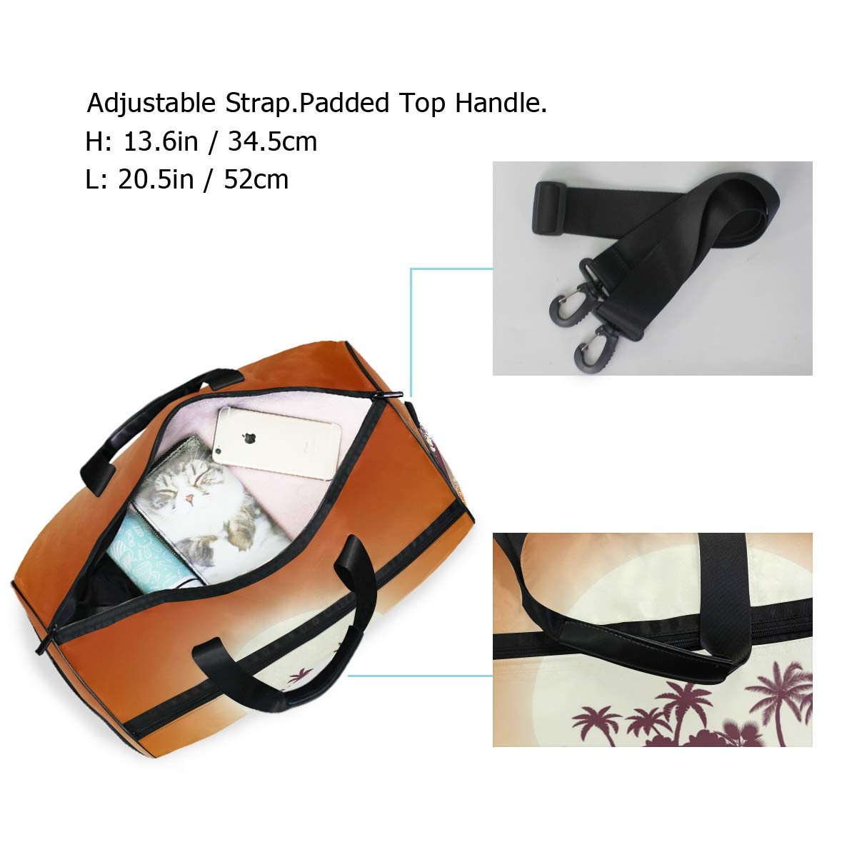 Gym Travel Duffel Bag Hot Tropical Island With Palm Trees Waterproof Lightweight Luggage bag for Sports Vacation