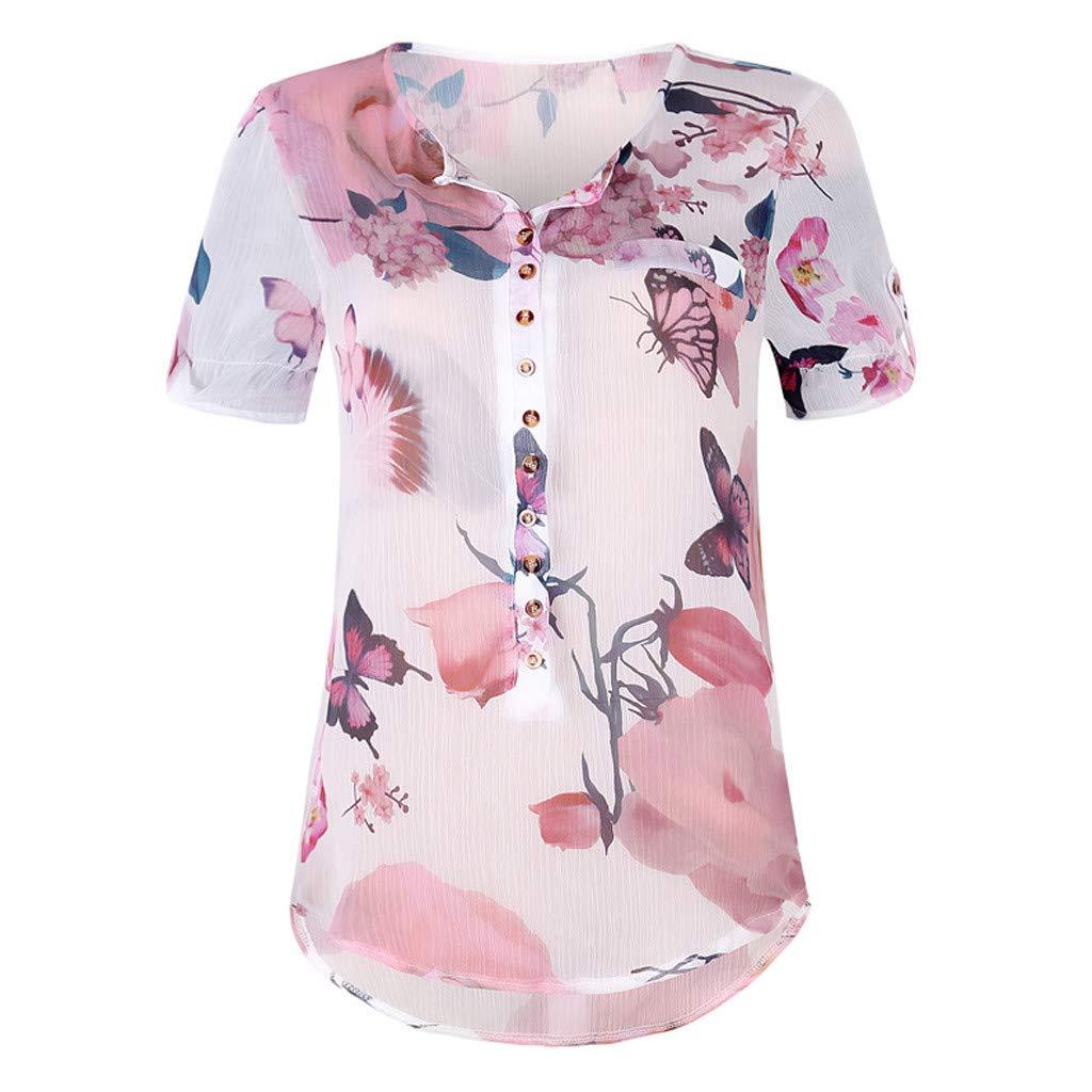 219da2c1ce6d15 Triskye Women's Summer Casual Short Sleeve Loose Button Printed Chiffon Top  Blouse at Amazon Women's Clothing store: