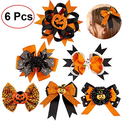 6 Pcs Hair Bows for Girls, Halloween Gifts Costume Hair Accessories, Cute Hairpin Set for Kids Teens Adults Party Favors (Random Pattern)]()
