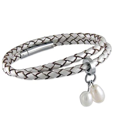 e46a188b1dd1 Pulsera de cuero trenzado con perla señoras/metálico muñequera de ...