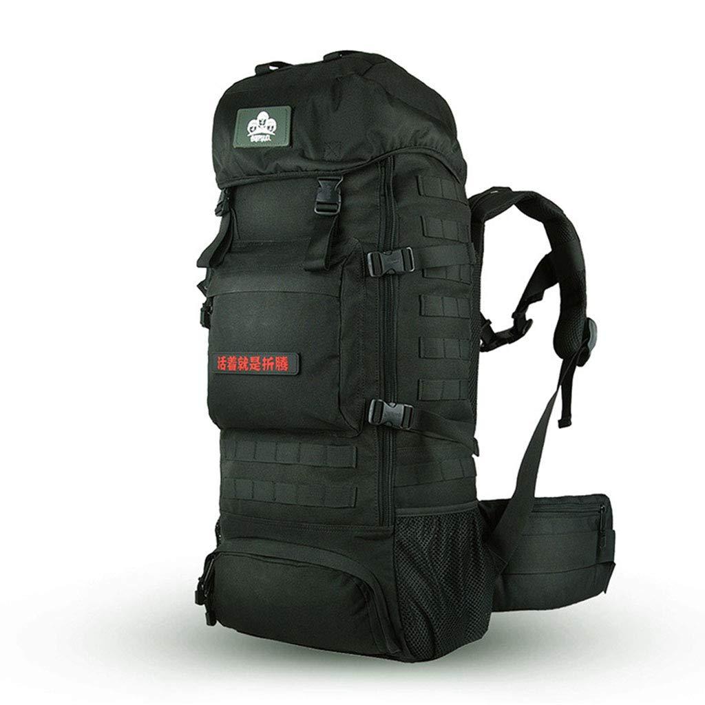 70Lプロのハイキングバックパック、レインカバー付きの軽く取り外し可能なインナーフレーム、男性と女性のキャンプ登山用バックパック  Black B07NSV9TMX