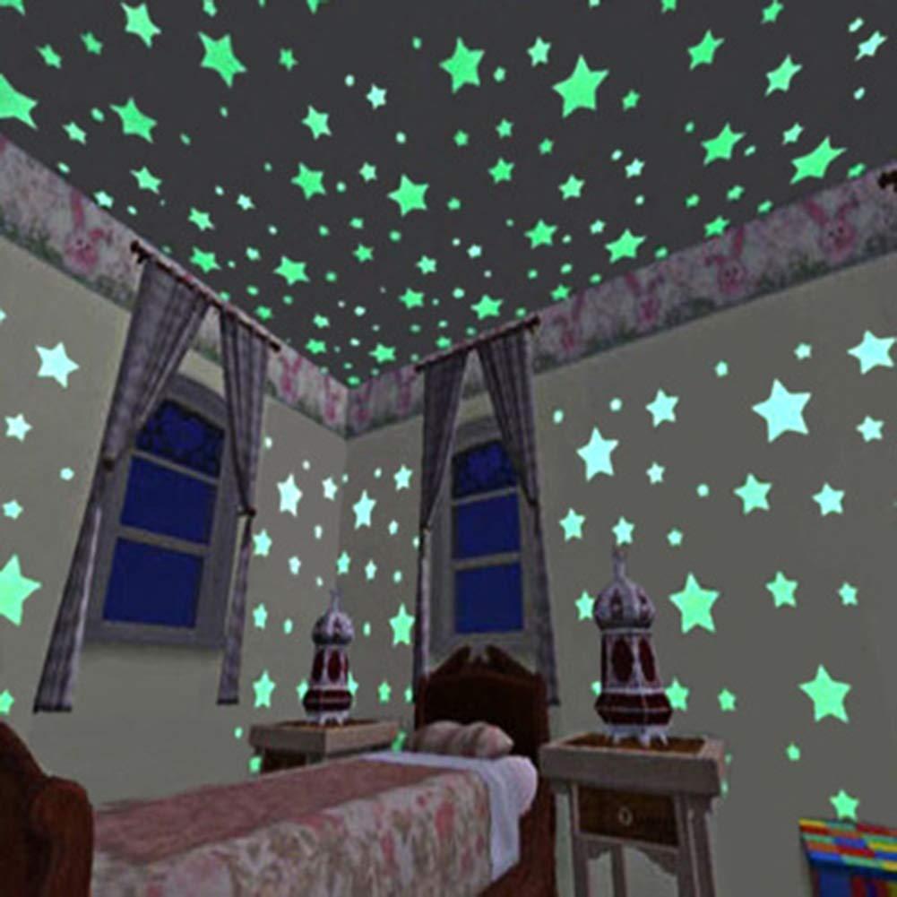 LONGTEN 100 PCS 3D Stereo Luminous Stars Wall Stickers DIY Childrens Room Kindergarten Dormitory Stars Fluorescent Christmas Stickers