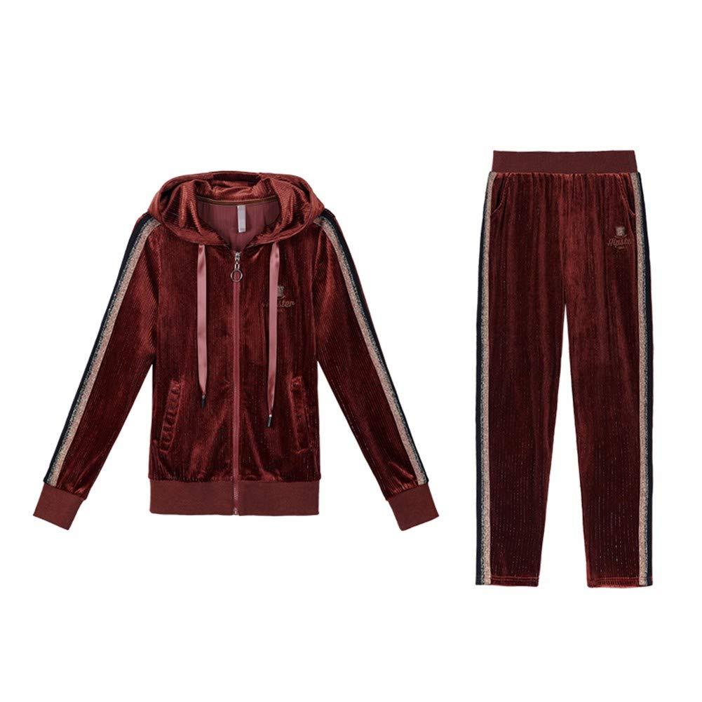 Lxj Sweater Frauenkleidung Gold-SAMT-Anzug Weiblichen Frühling Und Herbst 2018 Kapuze Lose Pullover Zweiteilige Student Freizeitkleidung Sportbekleidung