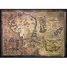 """The Lord Of The Rings / The Hobbit - Map Of Middle Earth - Limited Edition Framed Metallic Foil Dufex Movie Poster / Art Print (Size: 27"""" x 19.5"""") (CUSTOM FRAMED)"""