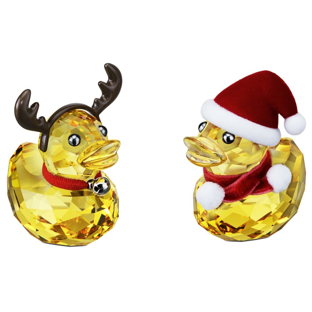 Swarovski Ducks Costumed As Santa & Reindeer Crystal Ornament